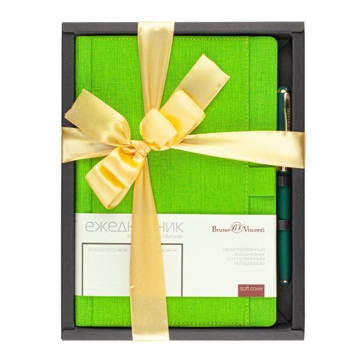 Набор подар BV Marseille светло-зеленый ежедневник А5 + ручка с бантом