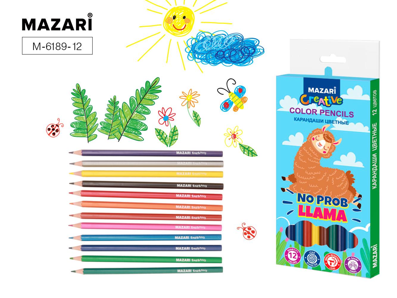 Карандаши цветные 12 цв пластик Mazari Llama