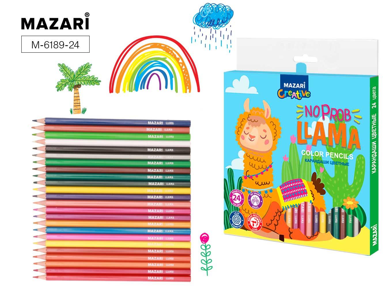 Карандаши цветные 24 цв пластик Mazari Llama