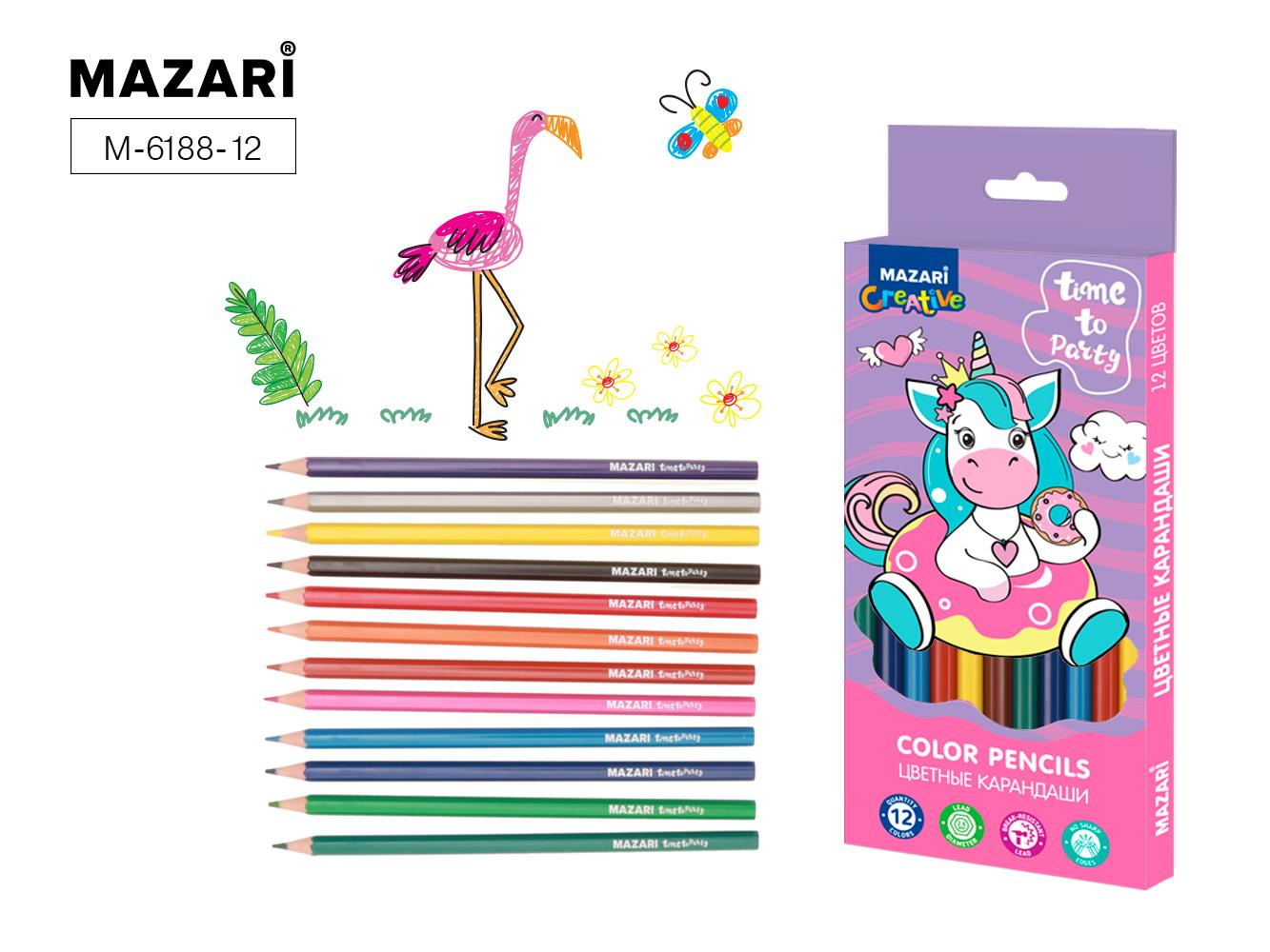 Карандаши цветные 12 цв пластик Mazari Time to party