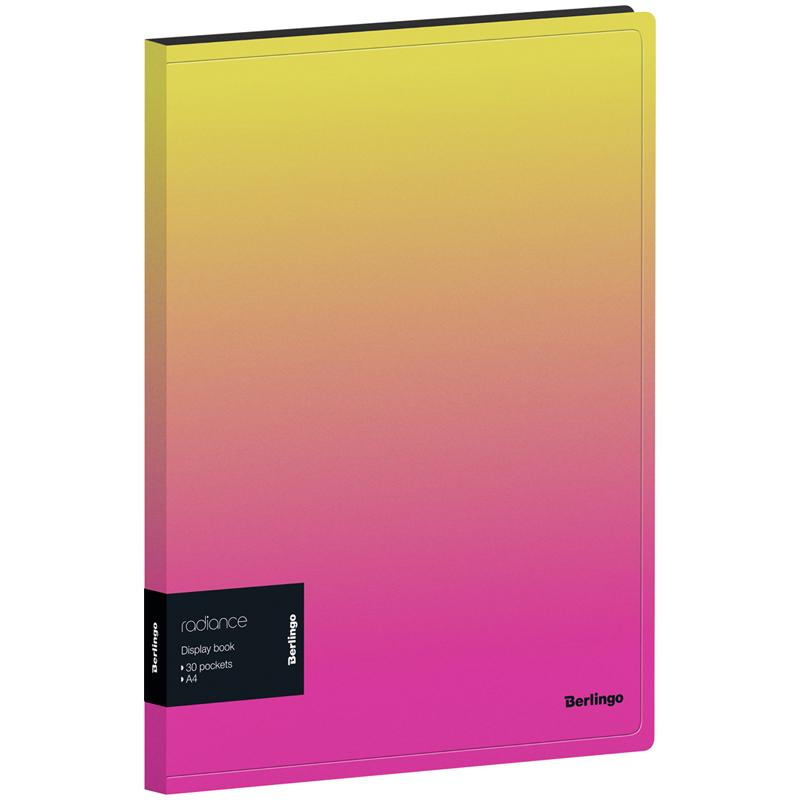 Папка-файл А4 30л Berlingo Radiance с внутр. карманом, желтый/розовый градиент