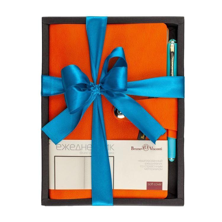 Набор подар BV Primavera оранжевый ежедневник А5+  ручка