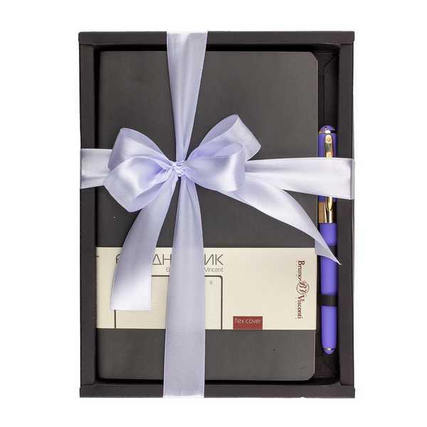 Набор подар BV Vincent серый ежедневник А5 + ручка