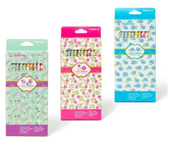 Карандаши цветные 12 цв Yalong Flover-1 к/к