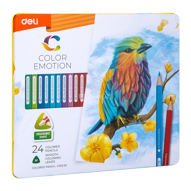 Карандаши цветные 24 цв Deli Color Emotion липа мет/уп