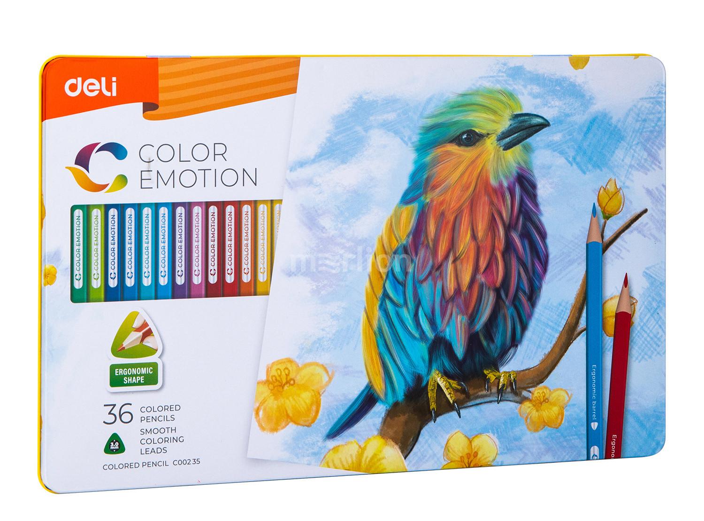 Карандаши цветные 36 цв Deli Color Emotion липа мет/уп