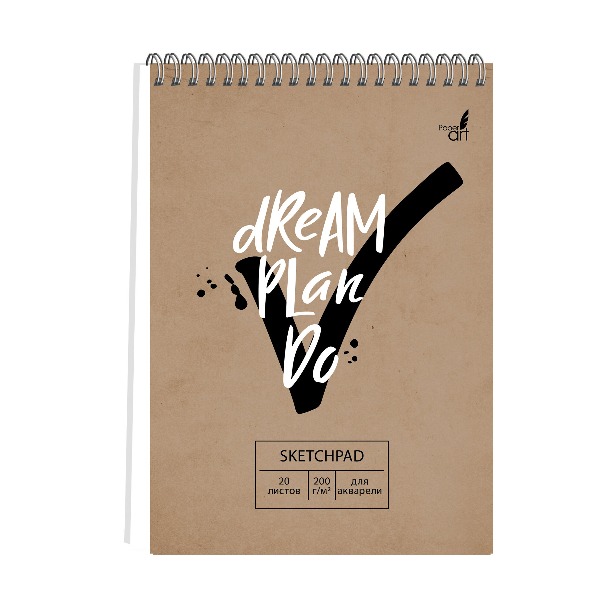 Скетчбук 140*200мм 20л тв спир Dream and Do 200г/м2