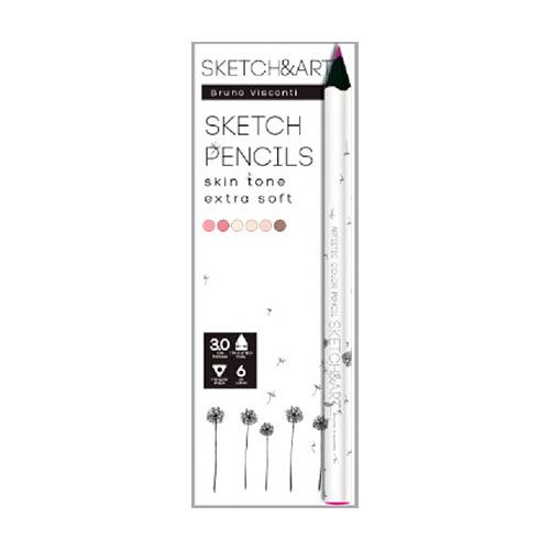 Карандаши цветные 6 цв скетч BV Sketch&Art утолщенные, 4мм, портрет