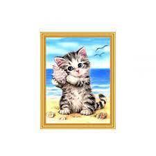 Творч Картина 2в1: Алмазная мозаика и Раскрашивание по номерам 30*40 Котенок с ракушкой