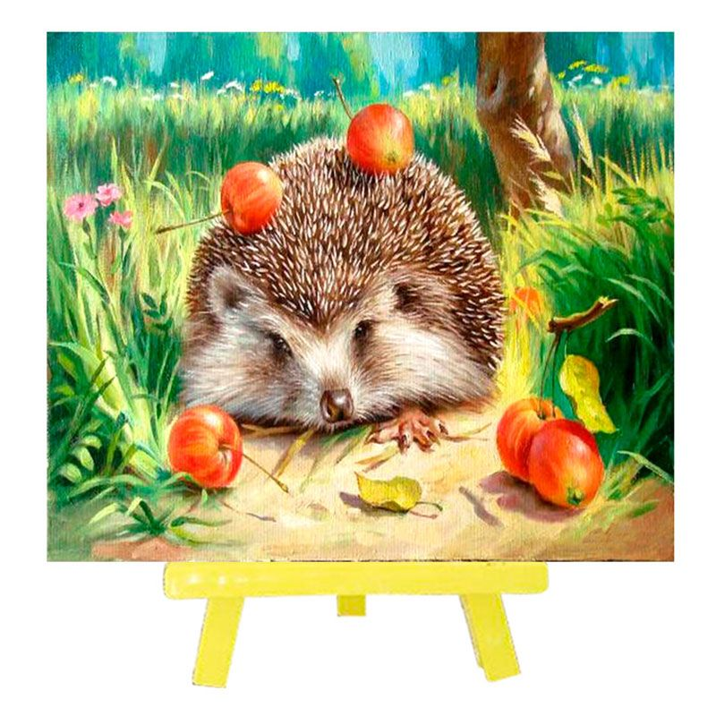 Творч Алмазная мозаика 21*25 с мольбертом Ежик с яблоками