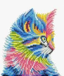 Творч Алмазная мозаика 21*25 с мольбертом Радужный кот