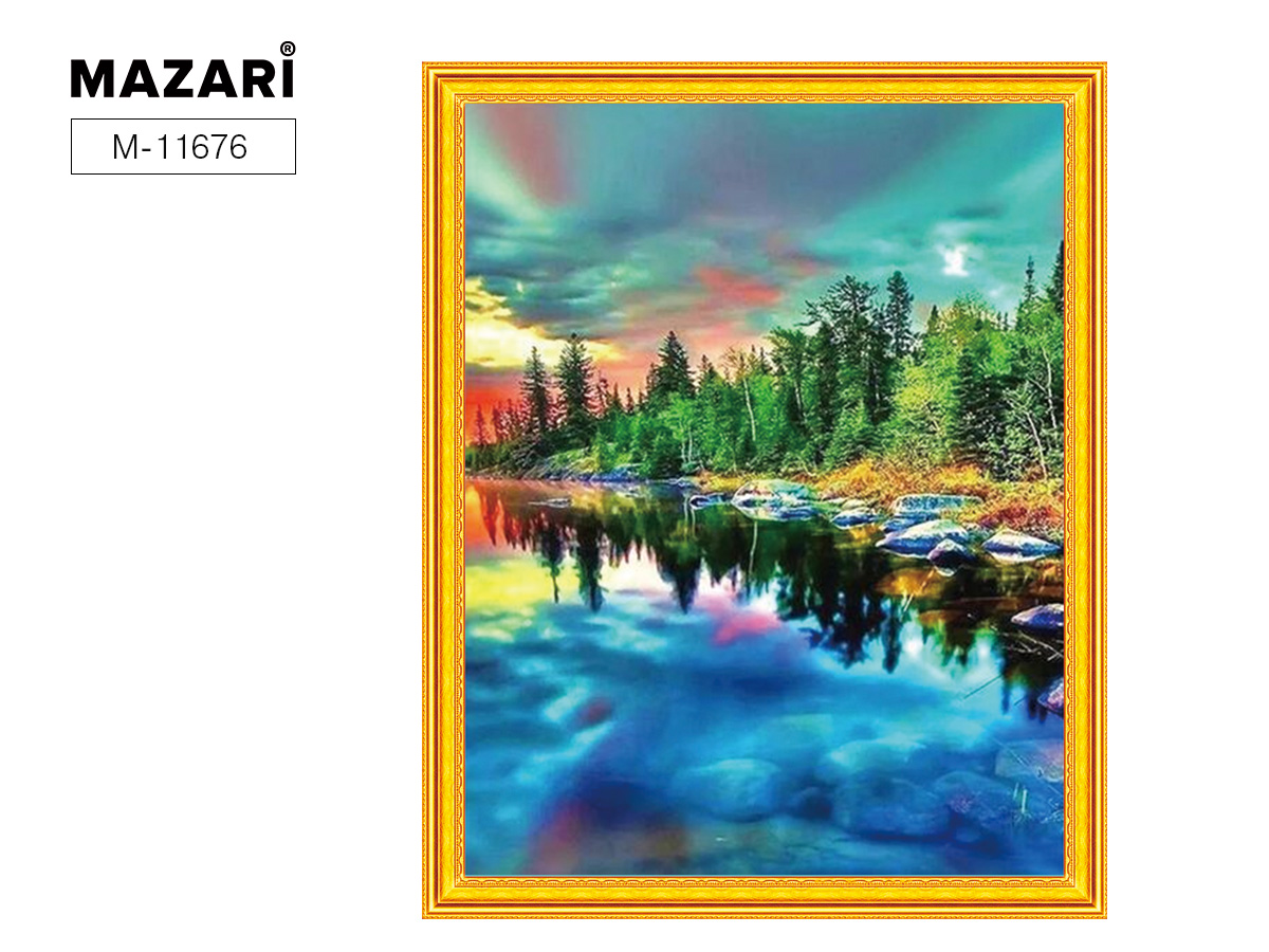 Творч Картина 2в1: Алмазная мозаика и Раскрашивание по номерам 40*50 Закат на озере