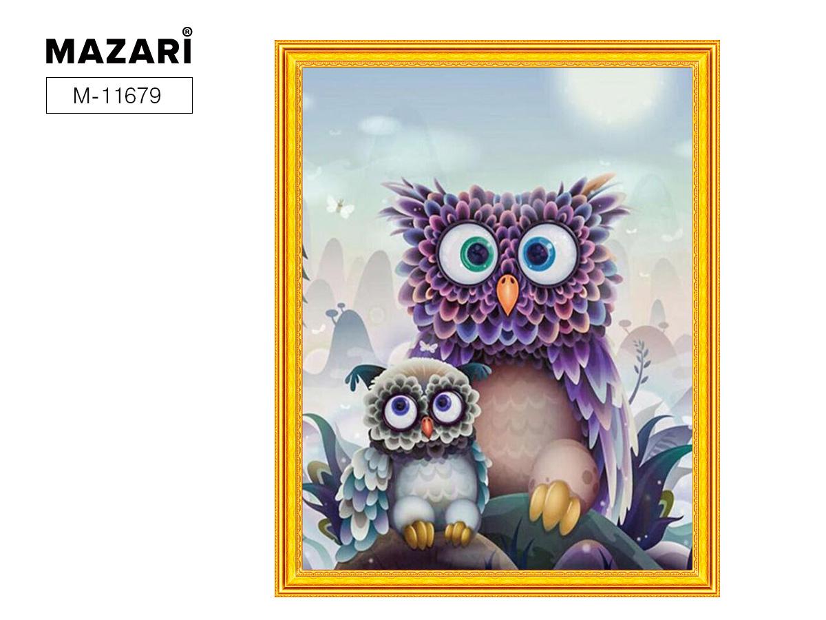 Творч Картина 2в1: Алмазная мозаика и Раскрашивание по номерам 40*50 Совы
