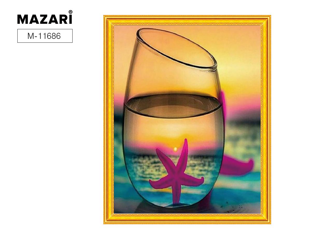 Творч Картина 2в1: Алмазная мозаика и Раскрашивание по номерам 40*50 Стакан на море