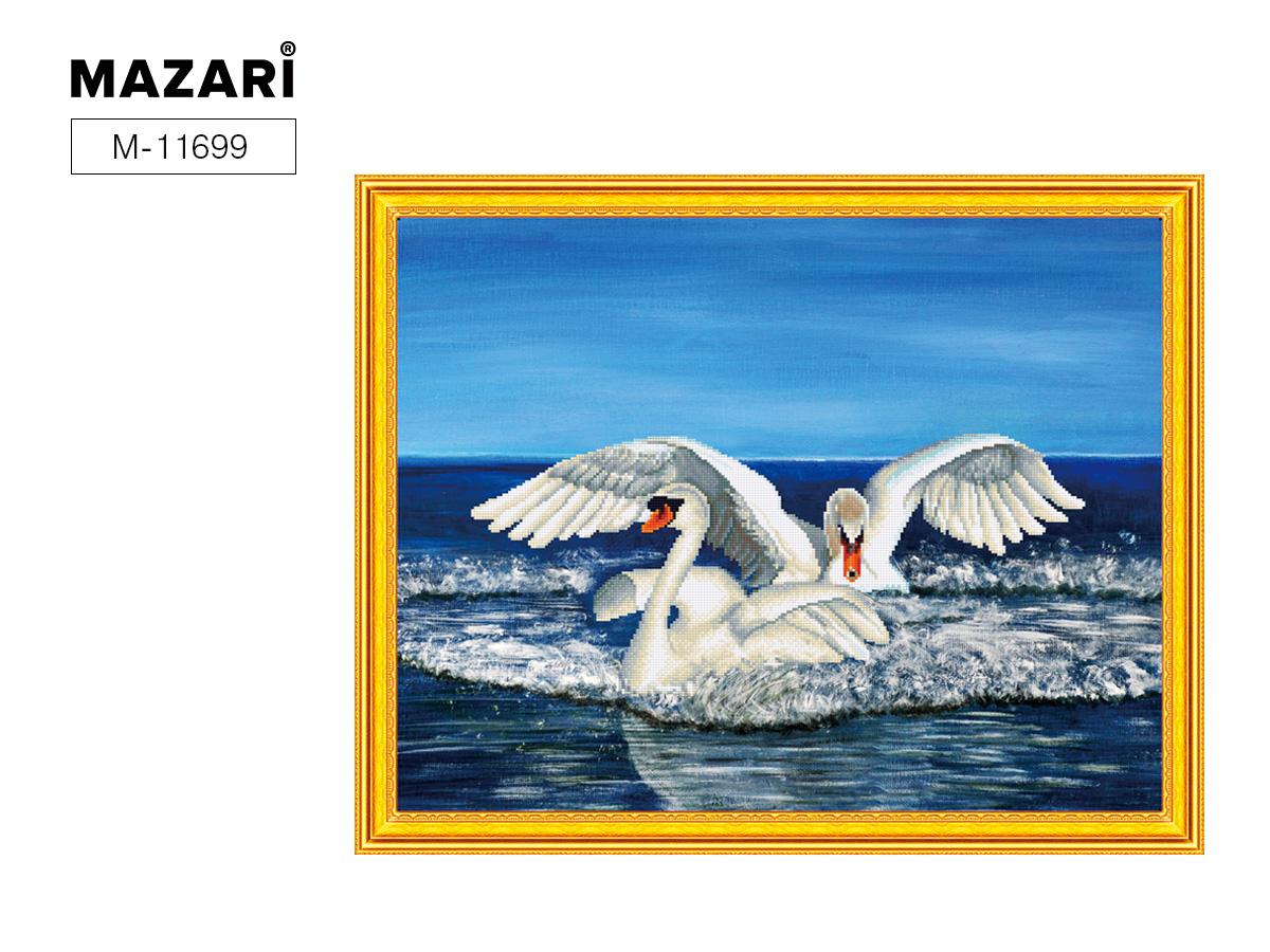 Творч Картина 2в1: Алмазная мозаика и Раскрашивание по номерам 40*50 Пара лебедей