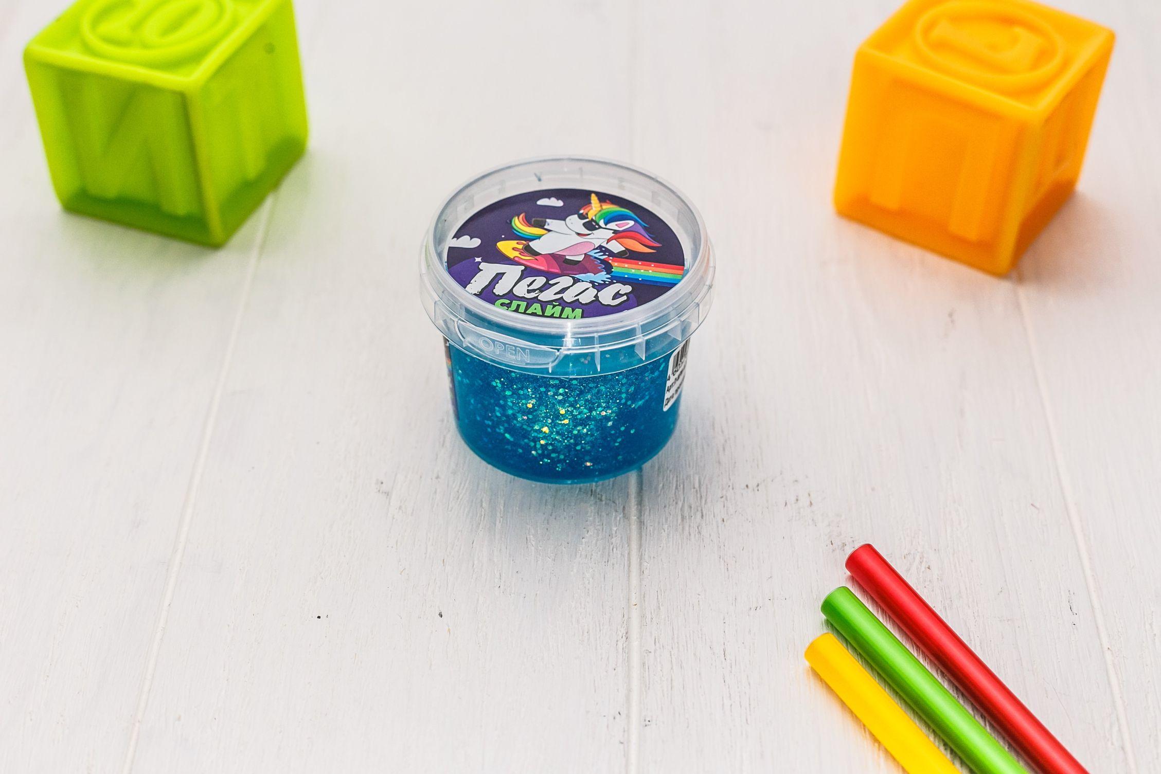 Слайм Прихлоп Slime 90гр пегас синий битое стекло