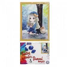 Творч Картина 2в1: Алмазная мозаика и Раскрашивание по номерам 30*40 Девочка