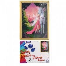 Творч Картина 2в1: Алмазная мозаика и Раскрашивание по номерам 30*40 Фея с единорогом