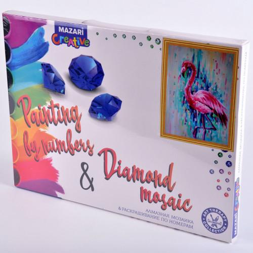 Творч Картина 2в1: Алмазная мозаика и Раскрашивание по номерам 30*40 Фламинго
