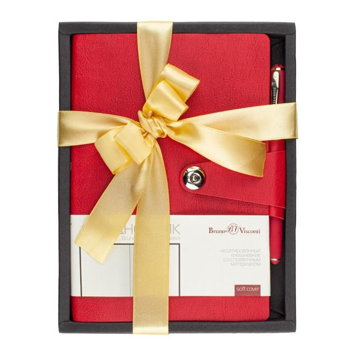 Набор подар BV Primavera красный ежедневник А5+  ручка