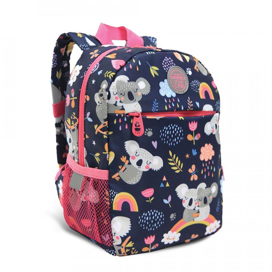 Рюкзак детский Grizzly Коалы синий с розовым 22*28*10