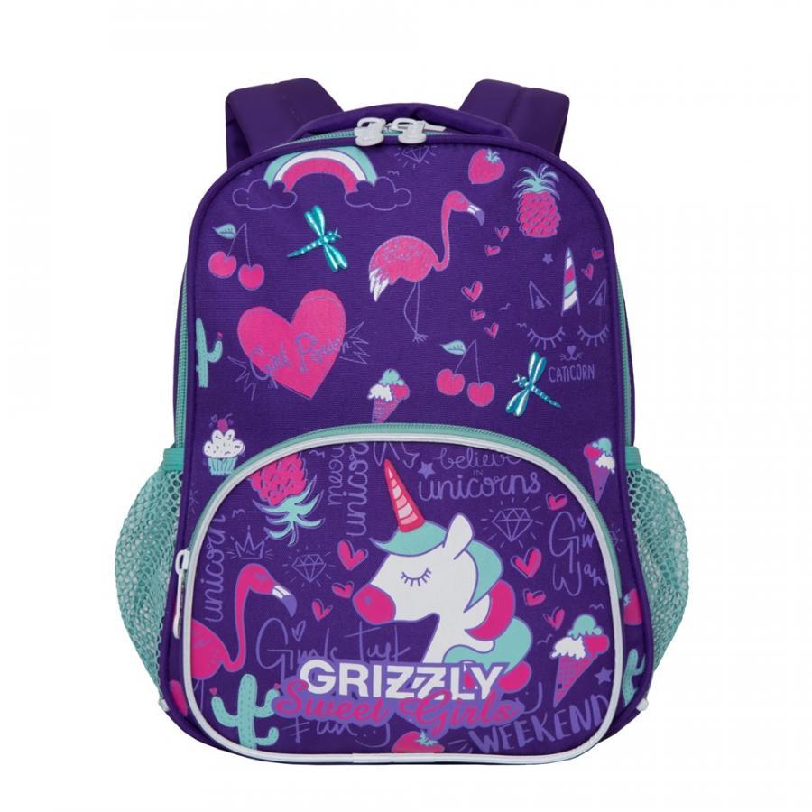 Рюкзак детский Grizzly Единорог фиолетовый 23*30*11