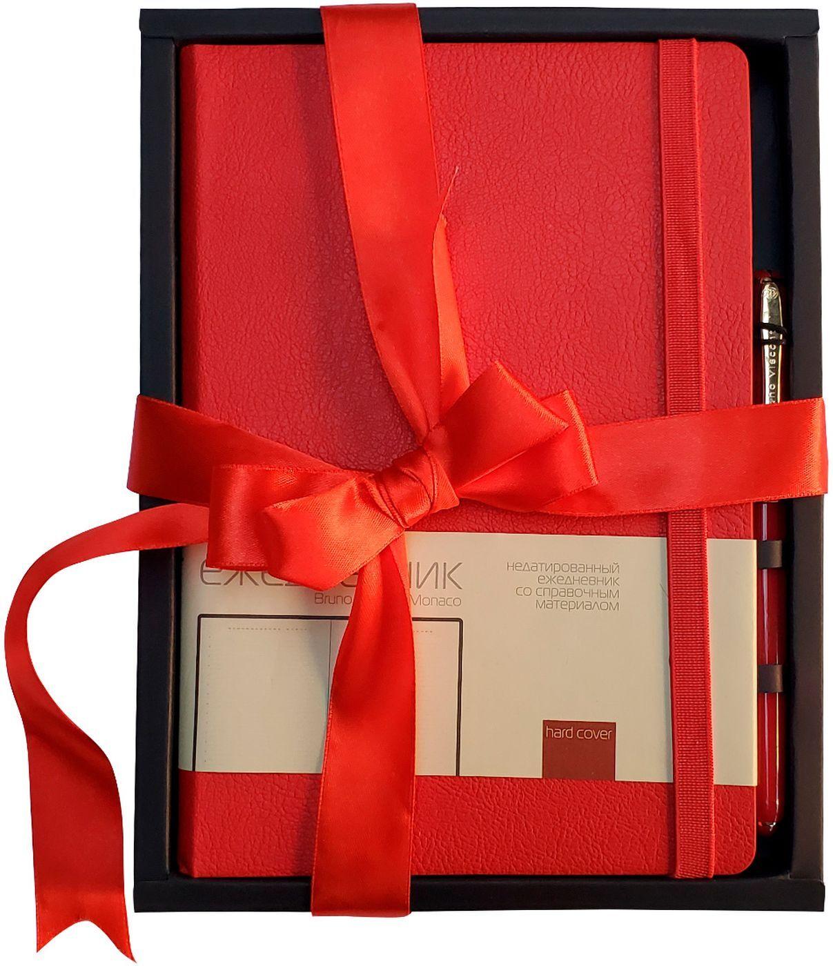Набор подар BV Monaco красный ежедневник А5 + ручка с бантом