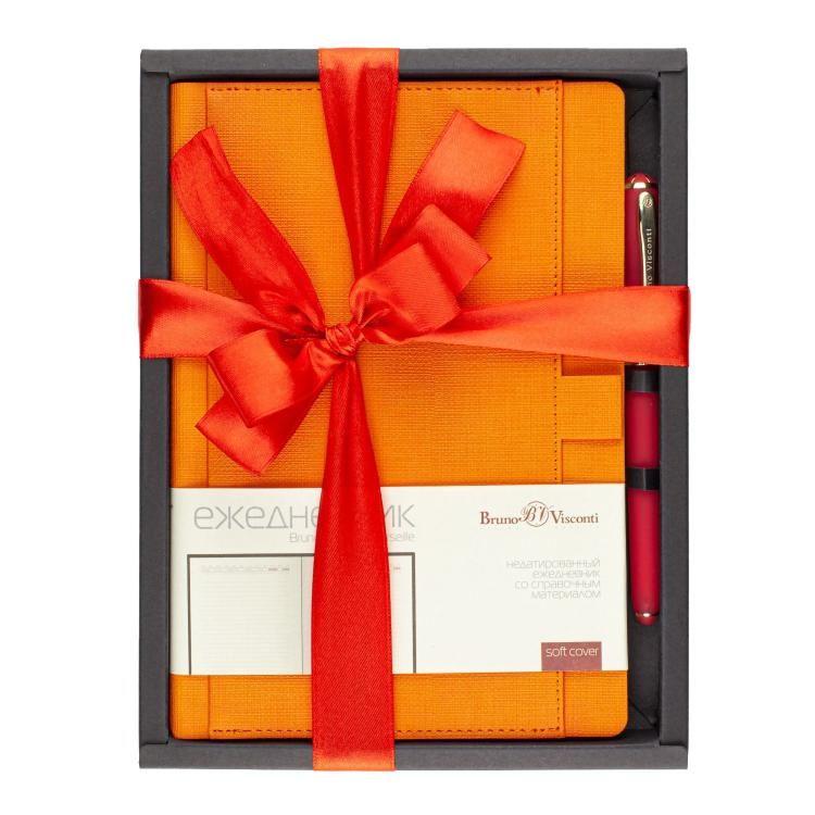 Набор подар BV Marseille оранжевый ежедневник А5 + ручка с бантом