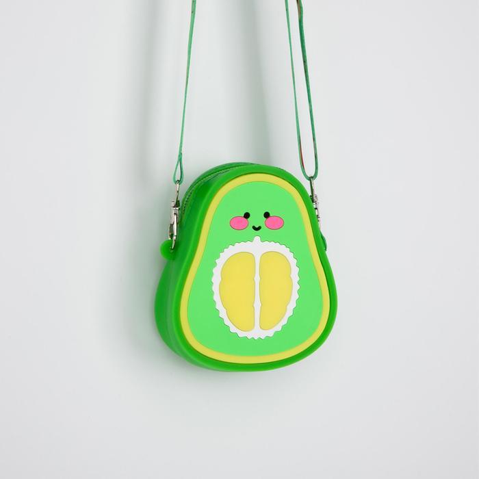 Сумка детская Авокадо силикон 9*5*12 на молнии, регул ремень зеленая