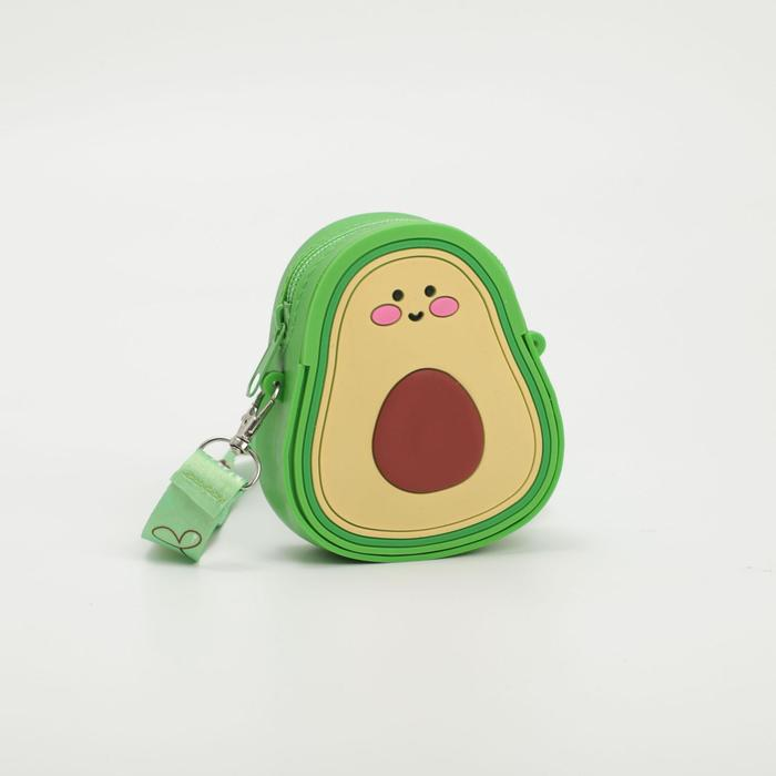 Сумка детская Авокадо силикон 9*5*12 на молнии регул ремень зеленая