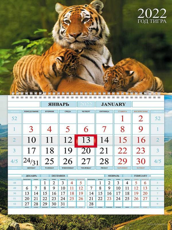 Календарь квартальный 2022 1Кв1гр4ц_24613 Год Тигра