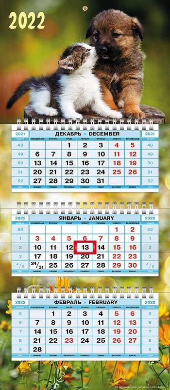 Календарь квартальный 2022 3Кв3гр5ц_25830 Пушистые друзья мал
