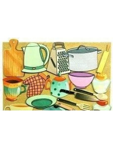 Игра Развивающая Посуда. Для детей старше 3 лет из фетра (игровое поле, фигурки, 18 деталей) + Посуда: 12 развивающих карточек с