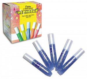 Краски-клей 1цв голубой с блестками неоновый 5мл