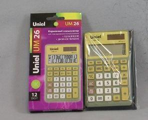 Калькулятор 12 разр. Uniel карманный желто-зеленый