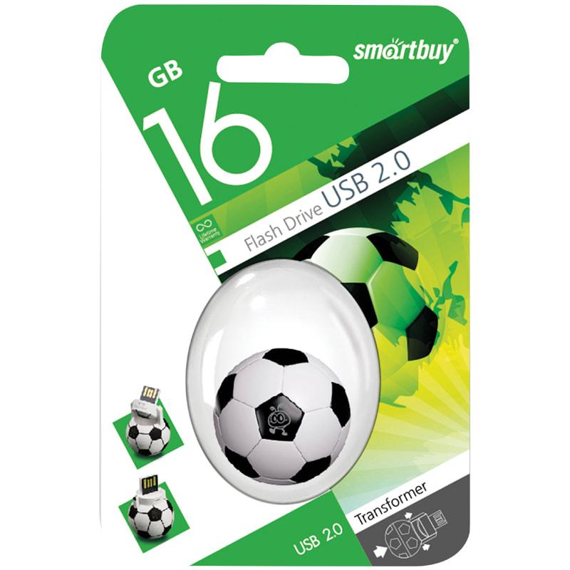Флэш-карта USB 16GB Smartbuy Wild Футбольный мяч черно-белый USB 2.0