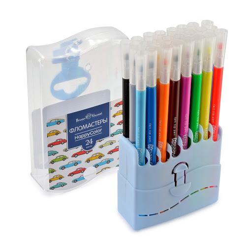 Фломастеры 24 цв BV HappyColor в пластиковом пенале