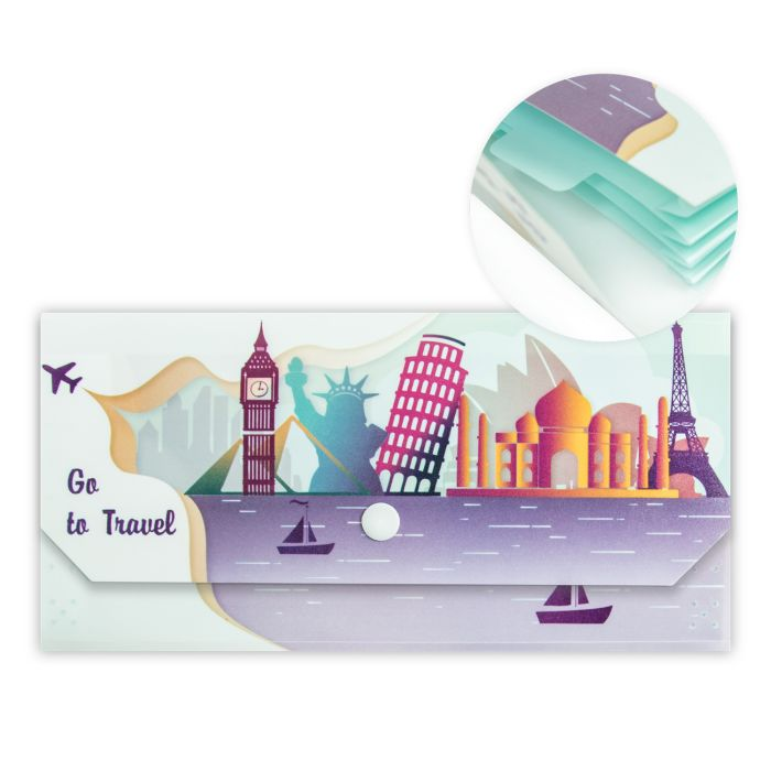 Папка-конверт А6 на кнопке евро 4 отд Путешествия