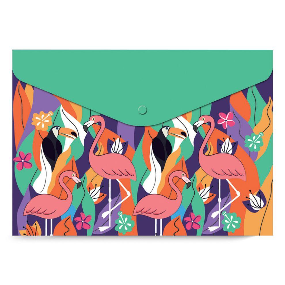 Папка-конверт А5 на кнопке Фламинго