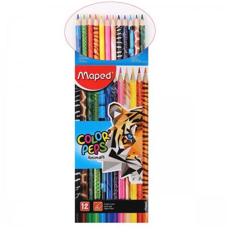 Карандаши цветные 12 цв Maped Color Peps Animals с декором трехгран. к