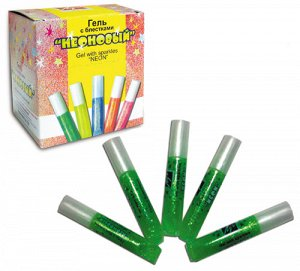 Творч Краски-клей 1цв зеленый с блестками неоновый 5мл