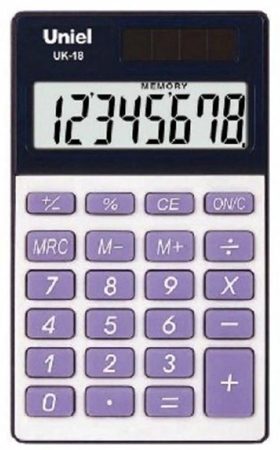 Калькулятор 8 разр. Uniel карманный сиреневый