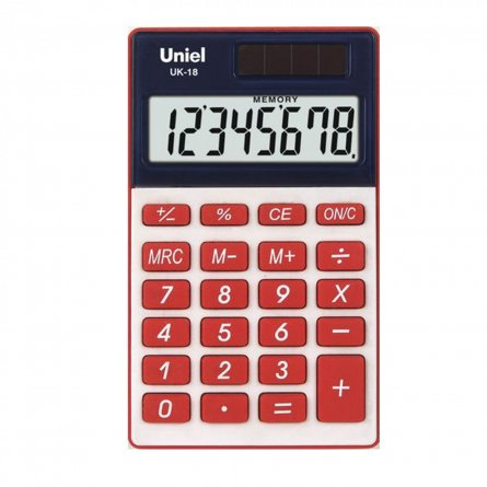 Калькулятор 8 разр. Uniel карманный красный