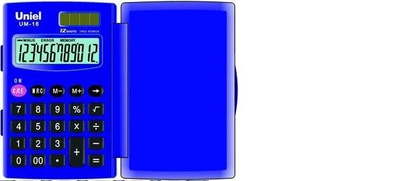 Калькулятор 12 разр. Uniel карманный синий