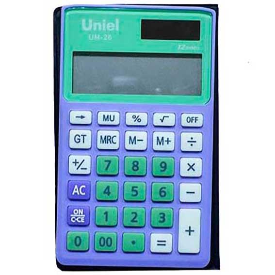 Калькулятор 12 разр. Uniel карманный салатово-лиловый