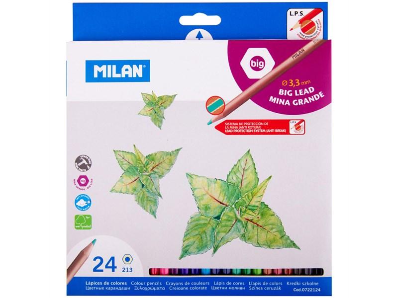 Карандаши цветные 24 цв Milan 213 утолщенный грифель к/к