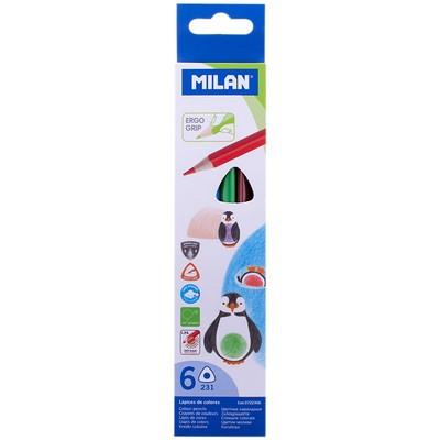 Карандаши цветные 6 цв Milan 231 трехгранные