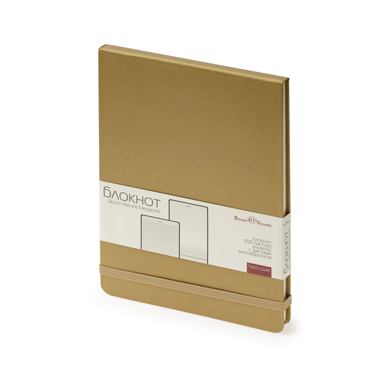 Блокнот А5 100л BV Megapolis Reporter золото на резинке