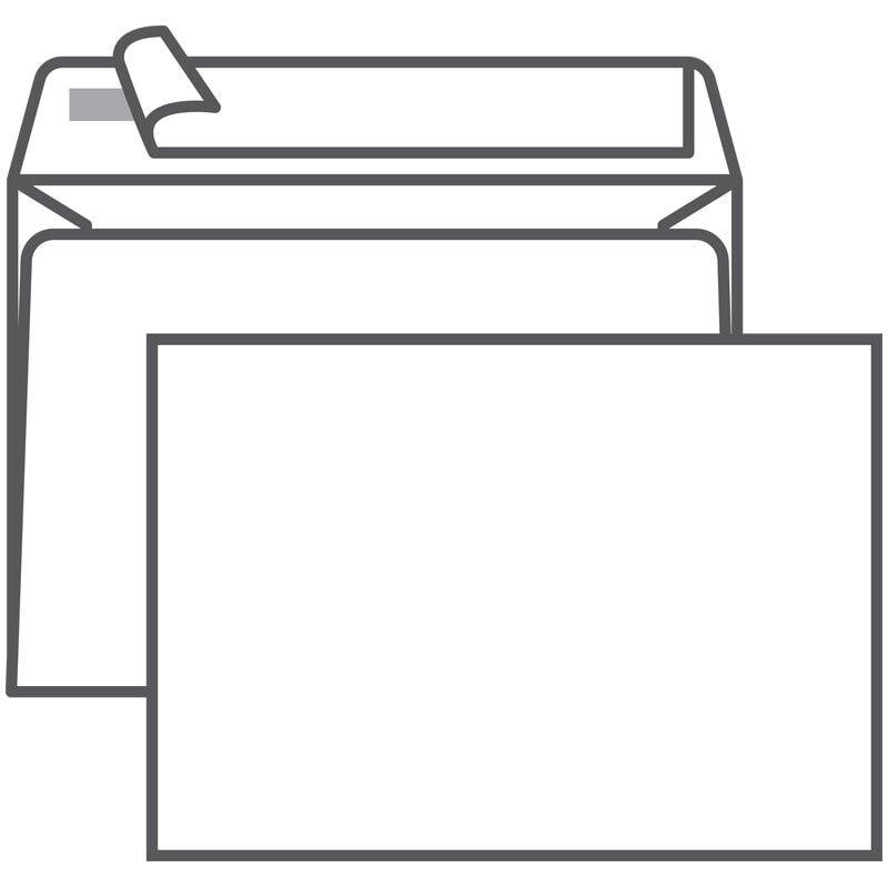 Конверт С6 114*162 белый б/окна, отрывная лента