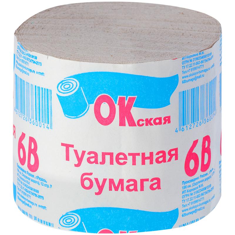 Быт Бумага туалетная Окская 1 слойн. 100г без втулки серая 30м